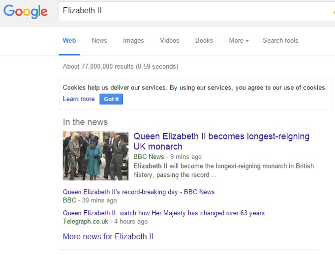 BBC.co.uk and telegraph.co.uk are in the Google One Box at 12.25pm.