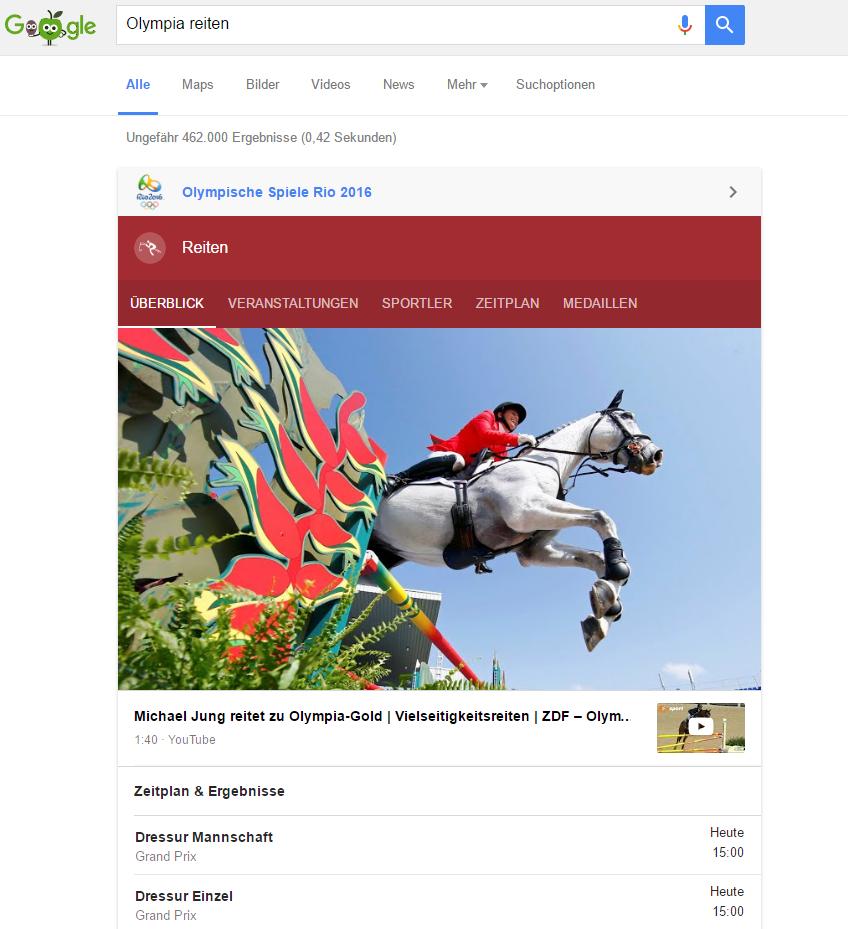 Google zieht mit dem voran gestellten Infokasten wahrscheinlich viel Traffic auf sich.