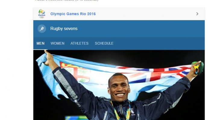 SERP for keyword Rugby Sevens with big Google own element