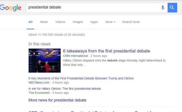 screenshot of a Google search on the topic presidential debate