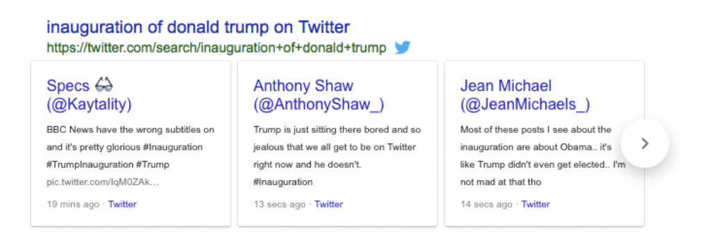 "Google provides a Twitter feed for ""inauguration of donald trump""."