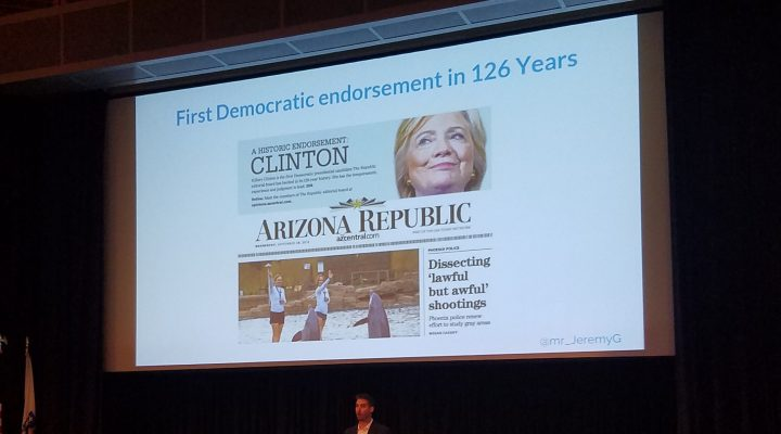 The Arizona Republic endorsed a Democrat for the first time in 126 years with Hillary Clinton in 2016.