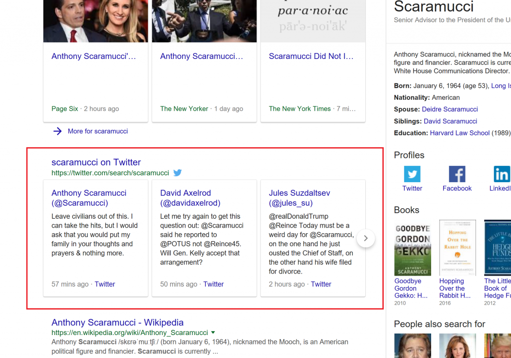 """Tweets about the keyword """"scaramucci"""" from Google News."""