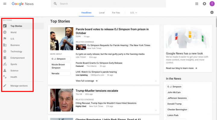 The desktop Google News page is arranged into Categories to the left, starting with Top Stories.
