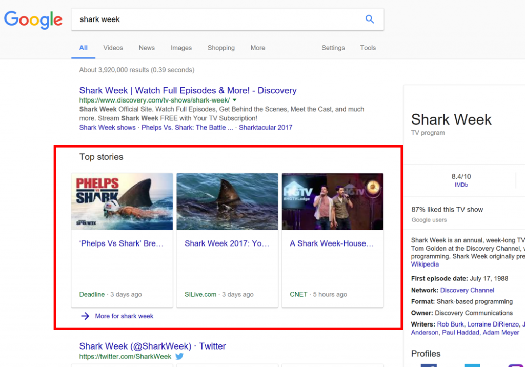 """A desktop Google SERP featuring a news box about the keyword """"shark week."""""""