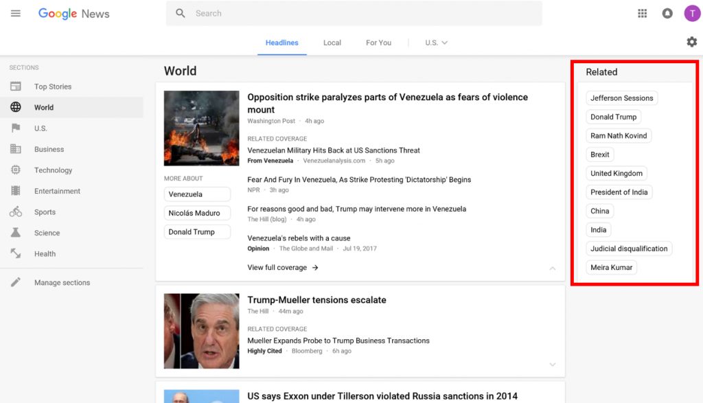 Desktop Google News has Related keywords on the right side of the page for each of the Categories.