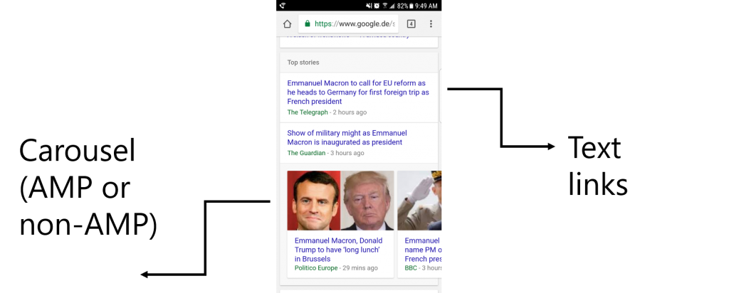 A mobile Google News Box in the SERP for Emmanuel Macron.