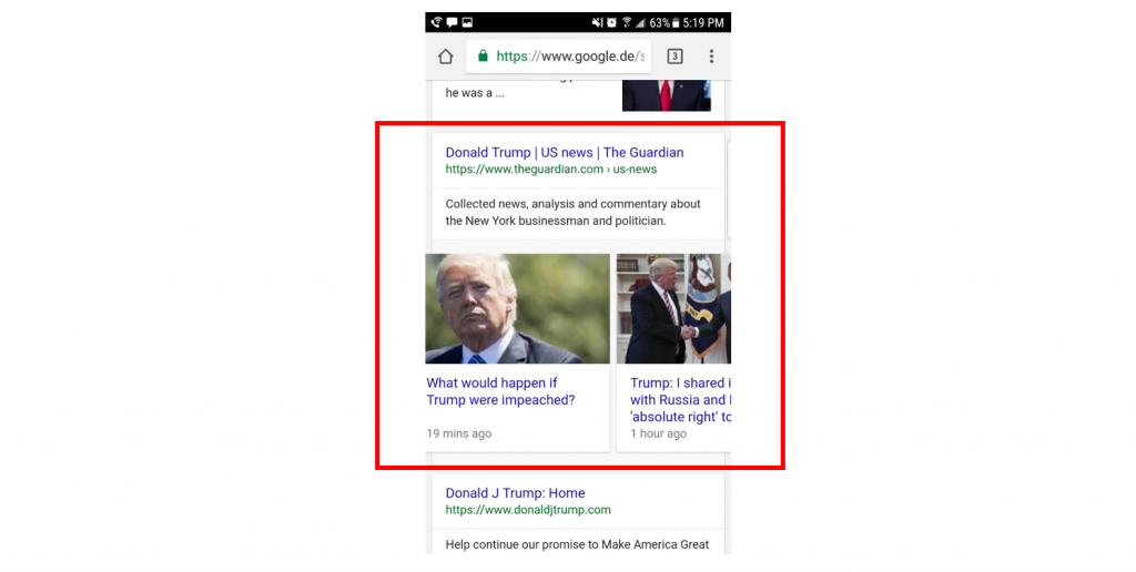 An example of a Publisher Carousel about Donald Trump in the mobile Google SERP.