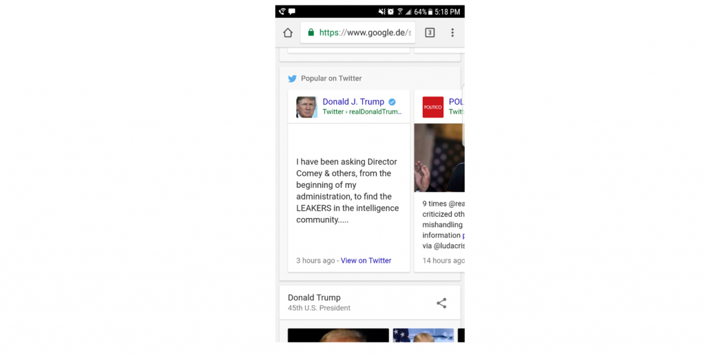 """An example of the """"Twitter tweet"""" news ranking type in the mobile Google SERP."""