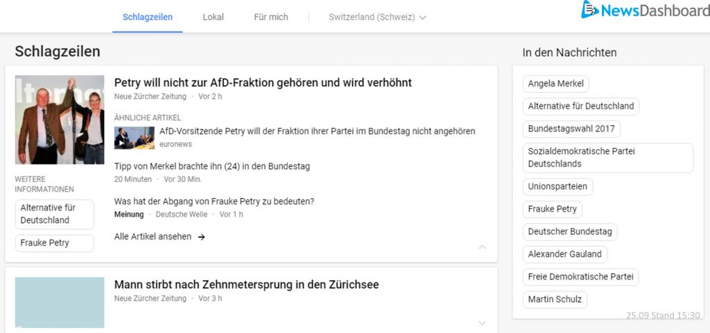 Google News Topics zeigen Bundestagswahlthemen in der Schweiz.