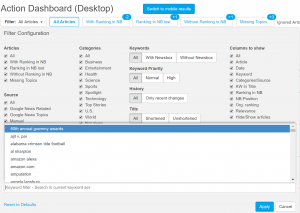 The News Dashboard now offers keyword clusters in the Action and KPI Dashboards.