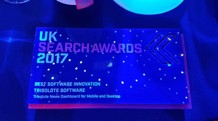 Trisolute News Dashboard wins UK Search Award for SEO Software Innovation.