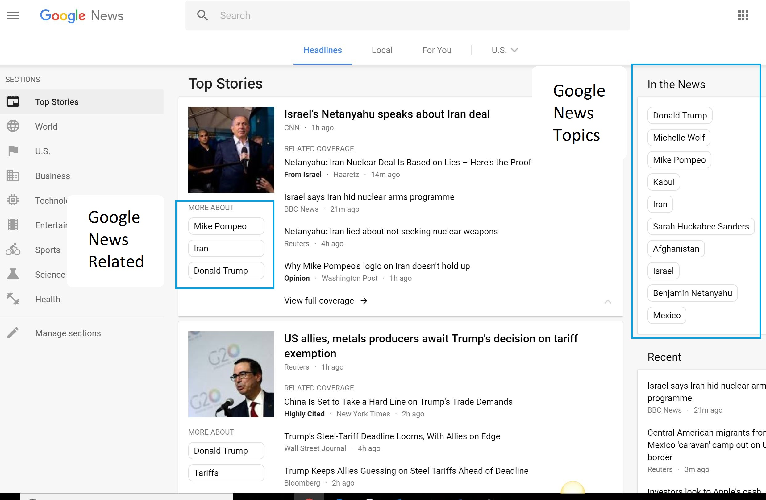 Top 5 most visible news sites for Google's U S  category