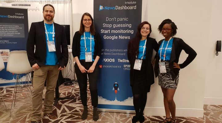 The Trisolute News Dashboard team at their ONA 2018 booth.