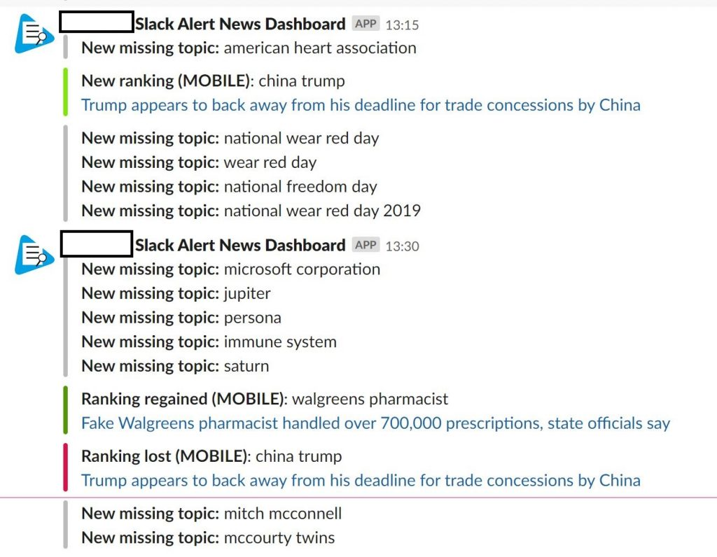 News Dashboard Slack Alerts