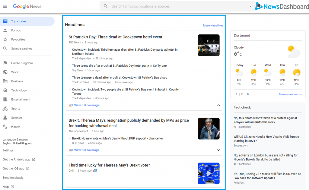 Google News page with articles highlighted