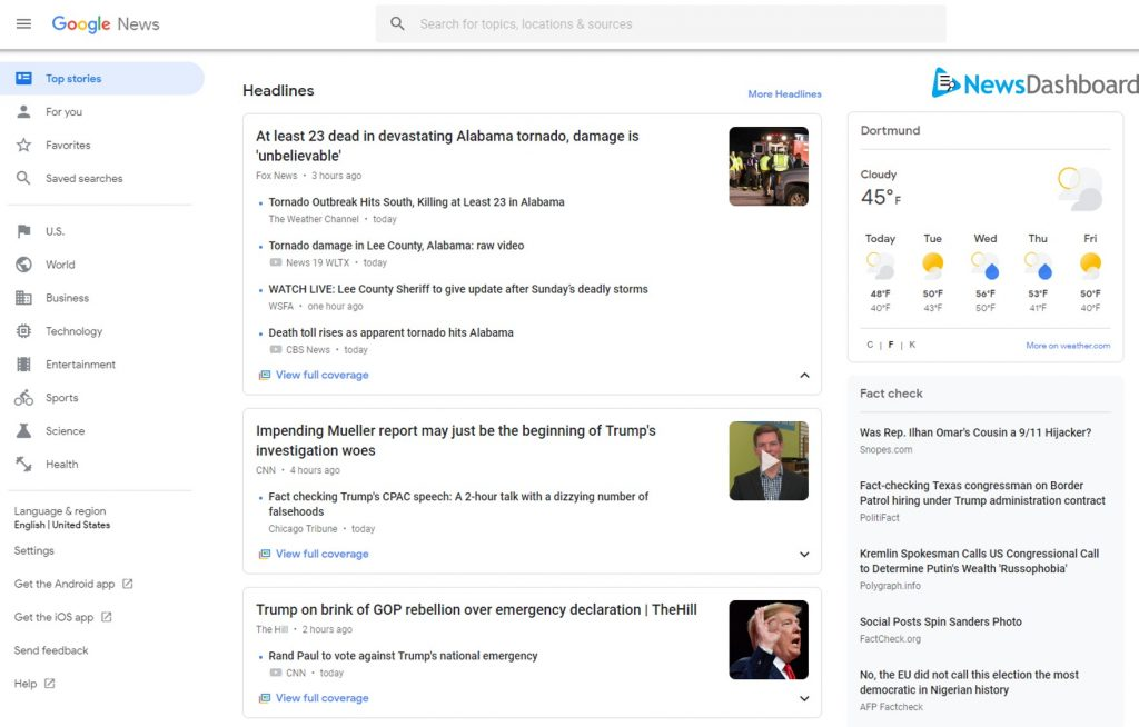 "Google News landing page with ""Top Stories"" for ""Headlines""."