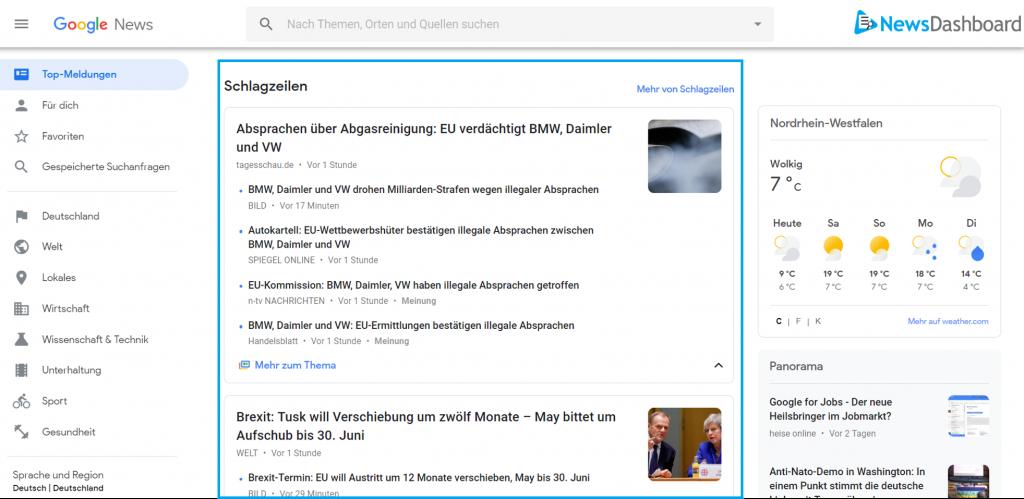 Google News Startseite mit markierten Rankings