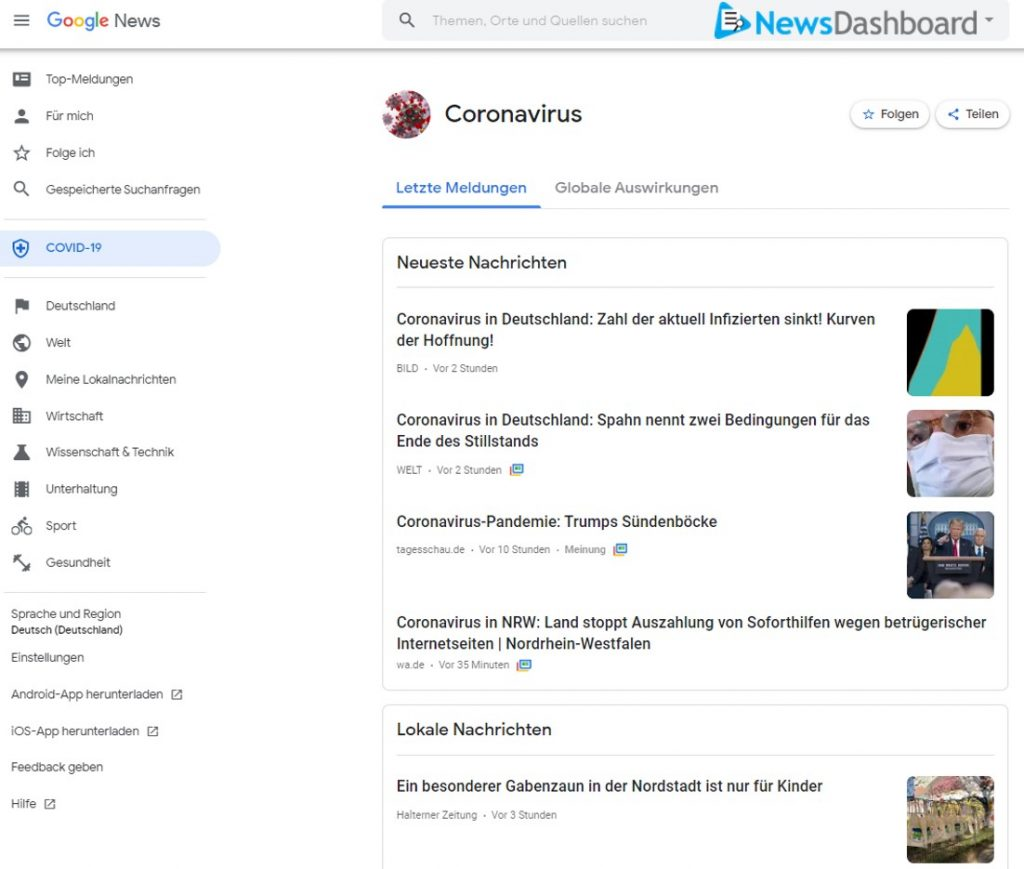 Google News Kategorieseite COVID-19.