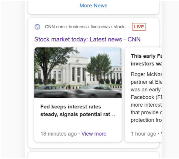 Live carousel on the mobile Google SERP.