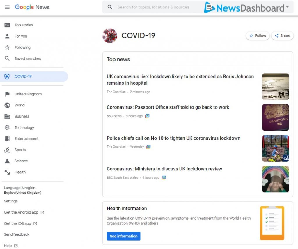 COVID-19 category page on Google News