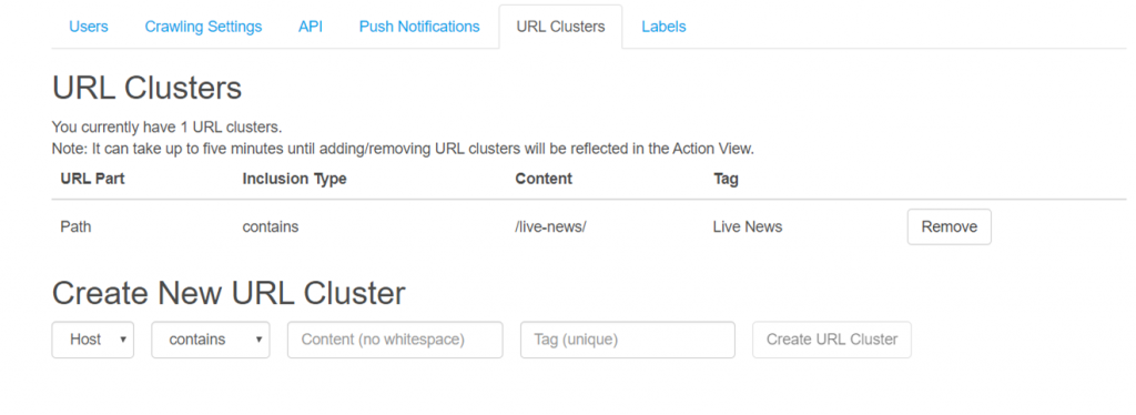 You can create URL Clusters in the News Dashboard.