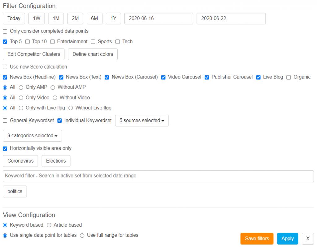 Filter menu in the KPI Dashboard